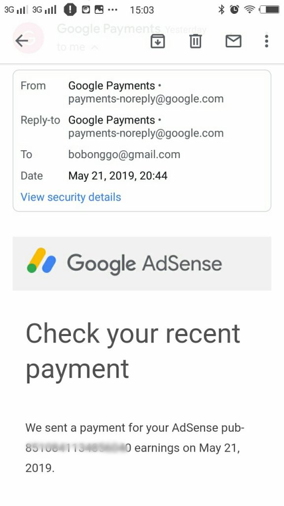 transfer minimum pembayaran Google Adsense ke rekening publisher